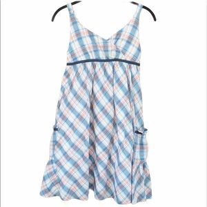 Gap Girls Kids Blue Orange Plaid Sun Dress XL